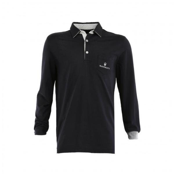 Maserati Blaues Langarm-Poloshirt 2XL
