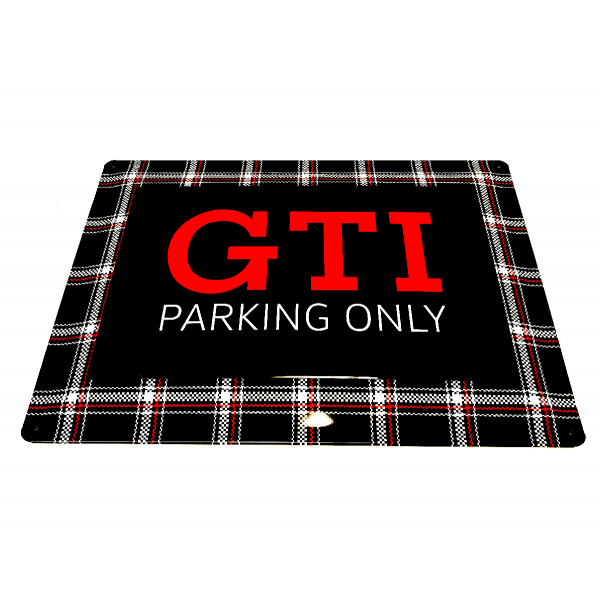 Blechschild GTI Parking Only Karomuster